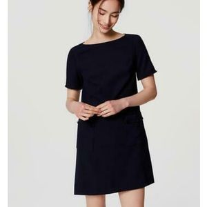 Loft • Navy Shift Dress with Fringe Accents